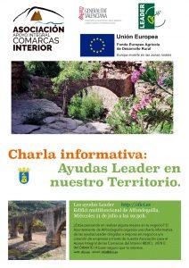 Charla sobre las ayudas leader en el centro multifuncional de Alfondeguilla el próximo miércoles 11 a las 19:30 horas.