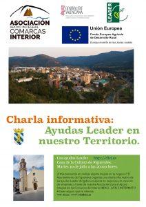 Chartla informativa, ayudas Leader en Figueroles, martes 10 de julio a las 20 horas